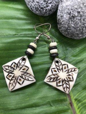 Handmade Pendientes colgante blanco puro-marrón oscuro