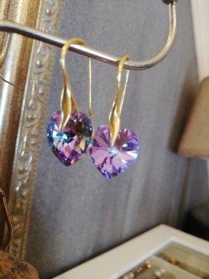 Pendientes colgante color oro-lila