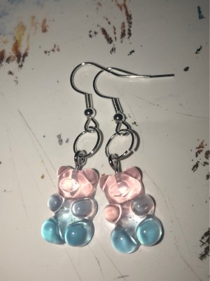 Silver Earrings pink-baby blue