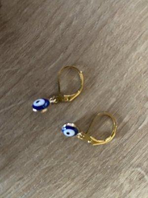 Oorclips goud-blauw