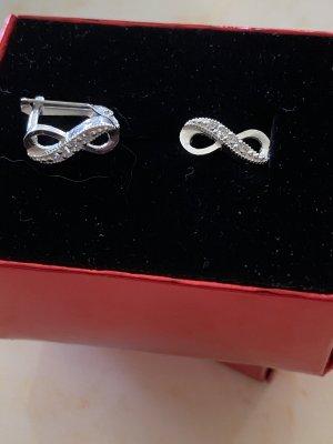 925er Silber Orecchino a clip grigio chiaro-argento