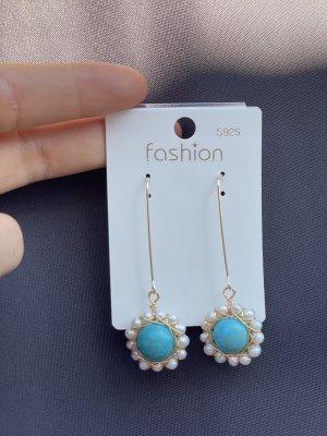 Orecchino di perle argento-turchese