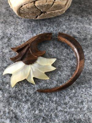 Handmade Clou d'oreille crème-brun bois
