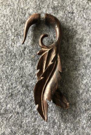 Handmade Zarcillo marrón oscuro madera