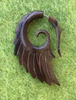 Handmade Zarcillo marrón-marrón oscuro madera