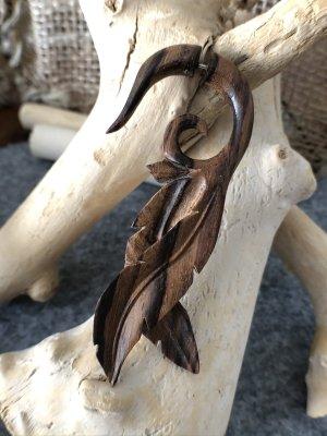 Handmade Clou d'oreille brun foncé-brun bois