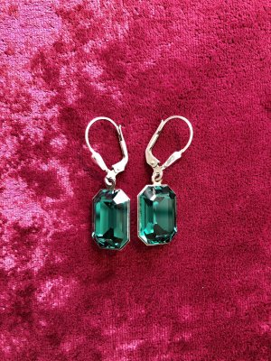 Ohrringe mit Swarovski Steinen Pendientes colgante verde oscuro
