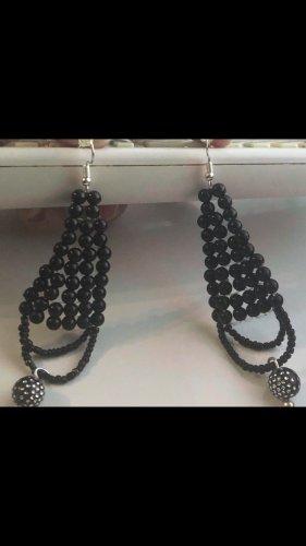 Keine Marke Pendientes de perlas negro-blanco