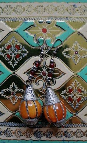 Boucles d'oreilles en argent argenté-orange