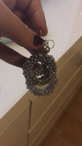 Orecchino di perle grigio chiaro-argento