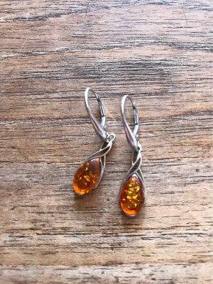 Srebrne kolczyki ciemny pomarańcz-pomarańczowy