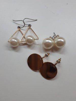 Zara Orecchino di perle color oro rosa-oro