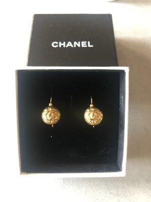 Chanel Boucle d'oreille incrustée de pierres bronze