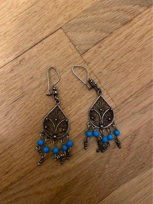Pendientes colgante color bronce-turquesa