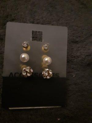 Accessorize Clou d'oreille blanc-doré