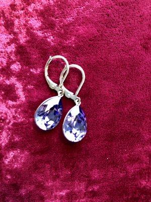 Ohrringe mit Swarovski Steinen Pendientes colgante violeta azulado-lila