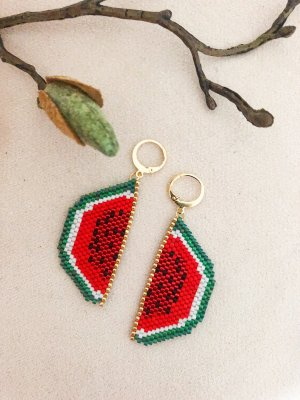 Ear Hoops red-green
