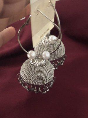 Pendientes tipo aro color plata-blanco