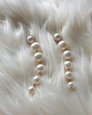 Boucles d'oreilles en perles blanc-blanc cassé