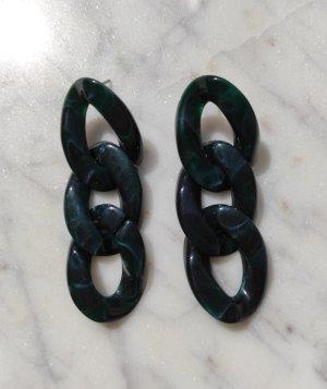 Boucle d'oreille incrustée de pierres vert foncé-vert forêt
