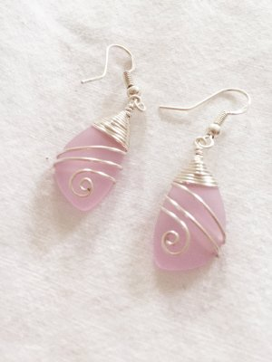 Ohrringe aus 925er Silber und Rosenquarz  NEU