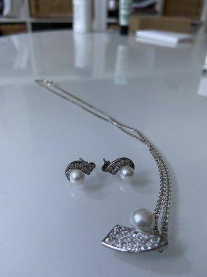 Boucles d'oreilles en argent argenté-blanc