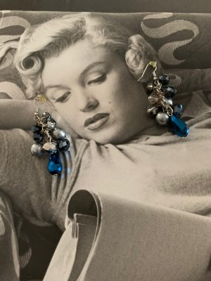 True Vintage Orecchino a pendente argento-blu