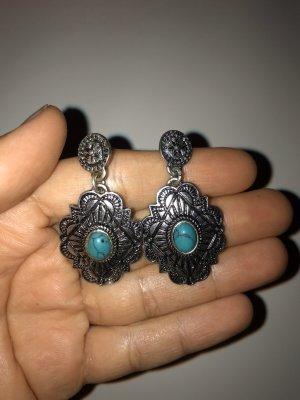Boucle d'oreille incrustée de pierres bleu azur-argenté