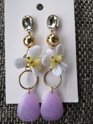 Ohrringe Blumen Blüten H&M lila weiß gold blogger hipster boho