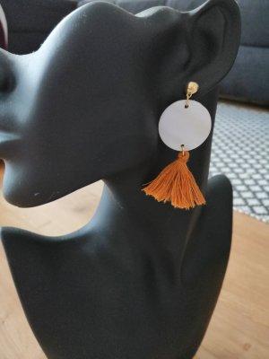 Ohrringe Bommeln Anhänger weiß gold Perlmutt Quasten Ohr Ringe Schmuck