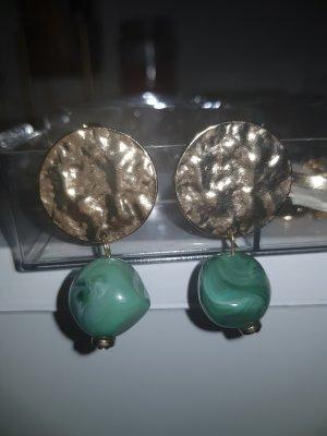 H&M Pendientes de oro color oro-verde