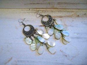 Ohrringe Chandelier Vintage Ohrhänger Perlmutt hellgrün