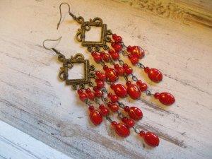 Ohrringe Chandelier Vintage Ohrhänger Rot