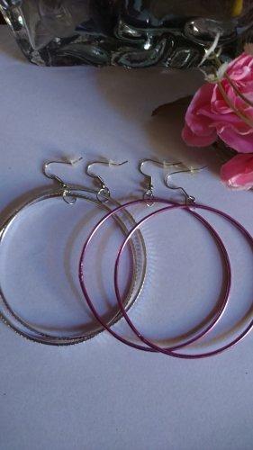 Ohrringe Creolen 2 Paar silber und lila Farbe