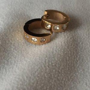 Ohrringe Creolen gold mit Steinchen aus Edelstahl