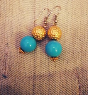 Dangle gold-colored-turquoise