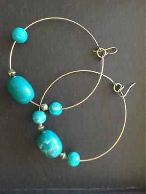 Zara Accesoires Créoles turquoise-doré