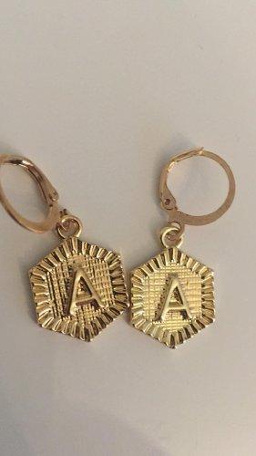Ohrringe dezent Klein Farbe Gold A Buchstabe Münzen Style