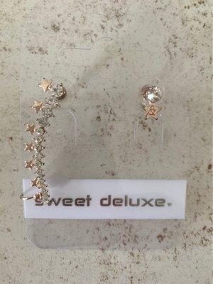 Sweet Deluxe Pendientes de cuentas color rosa dorado