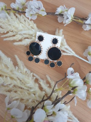 Butik Statement Earrings black-gold-colored