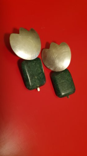 Silver Earrings silver-colored-forest green
