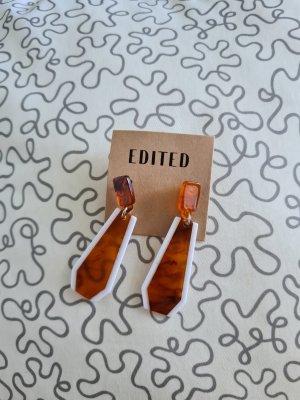 Edited Zdobione kolczyki biały-brązowy