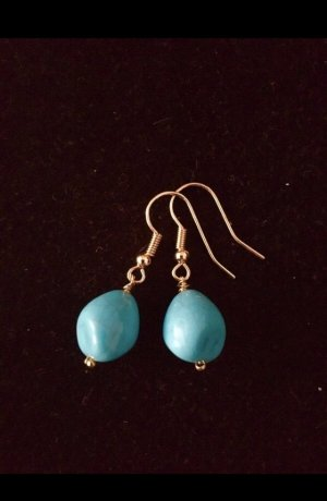 Handmade Pendant d'oreille bleu clair-doré