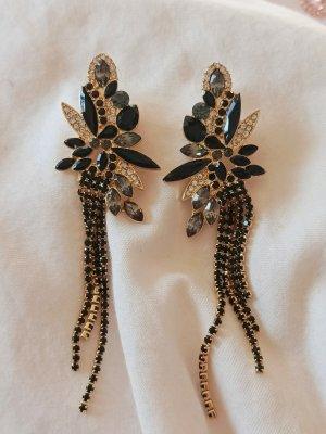 Ohrringe elegant schwarz und Gold vintage