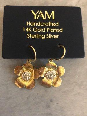 Wiszące kolczyki złoto