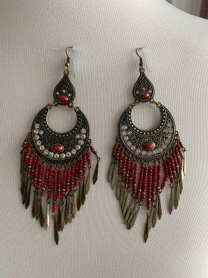 Pendientes colgante rojo oscuro-color bronce