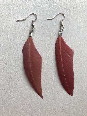 Pendientes colgante rojo frambuesa-color plata