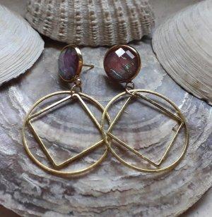 Ohrringe gold opal kreis viereck raute Statement