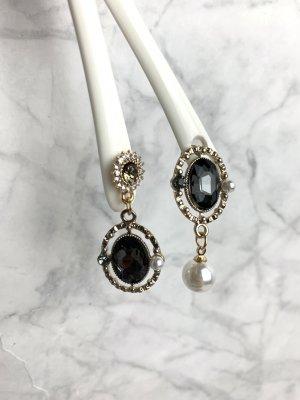 Ohrringe gold Strass schwarz Perle neu ungetragen asymmetrisch