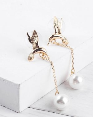 Ohrringe goldfarben Kolibri mit Kunstperlen / 925 Silber Pin
